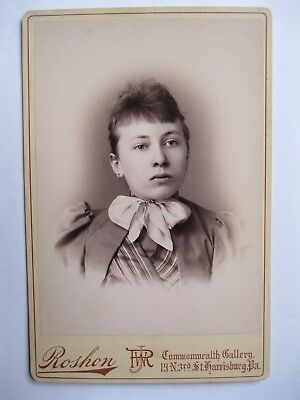 Vintage Cabinet Card Photo Victorian Woman by Roshon from St. Harrisburg, PA.