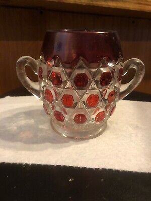 Antique EAPG Red Ruby Stained Glass Spooner~NO RESERVE Late 1800's