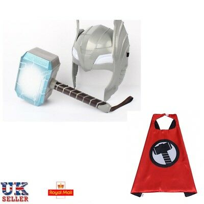 UK LED Glowing And Sounds Thor Hammer LED Mask Action Figures Kids Cosplay Toys