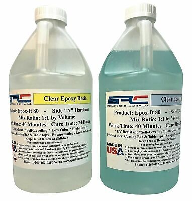 Details about  Epoxy Resin For Crystal Clear Coating Bar And Table Top 2 Gallon