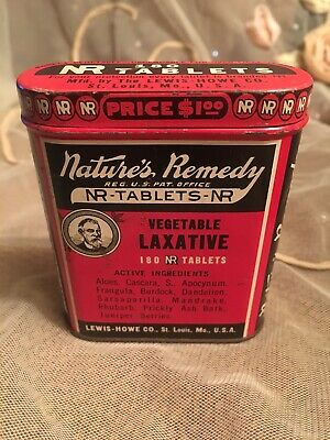 Vintage Natures Remedy Laxative Tin Red Medical Advertising LEWIS HOWE CO USA