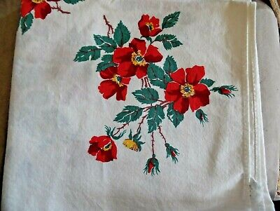 """Vintage WILENDURE Tablecloth~CUTTER with STAINS~RED FLORAL~52""""x 50""""~RETRO 1950's"""
