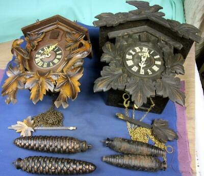 E 89.  2 Vintage 8 Day Cuckoo Clocks A Med Brown 2 Wt. And A Dark 2 Wt. Clock: