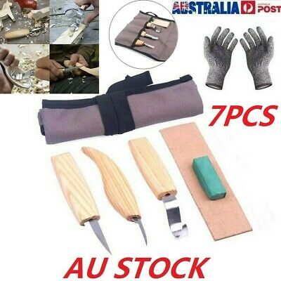 AU 7Pcs Wood Carving Knife DIY Chisel Woodworking Cutter Chip Hand Tool Kits HOT