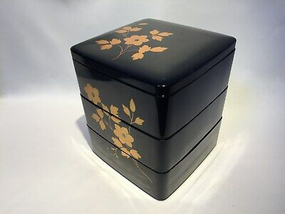 "Japanese Lacquer ""Aizu"" FOOD BOXES Jubako Three steps Floral Tea Ceremony W/box"