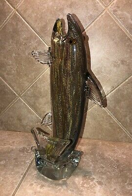 "Rare Large Blown Glass Jumping Trout Fish 11.5"" Tall"