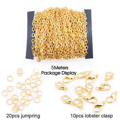 5M 2mm Chains Lobster Clasp DIY Bracelet Necklace Jewelry Making Materials Set`