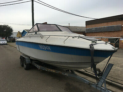 22' MUSTANG Good Fibreglass Hull,RustyTrailer,UNREG,NO MOTOR OR DRIVE Project,