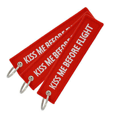 3pcs Kiss Me Before Flight Car Embroidery Keychain Keyring Holder Luggage Tag