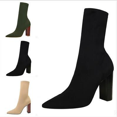 """CR Dara Black Fitted Open Pointy Toe Ankle Sock Boot 4/"""" High Heel 6-11"""