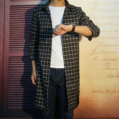 Mens Retro Check Shirt Plaid Collared Jacket Slim Long Top Tartan Office Casual