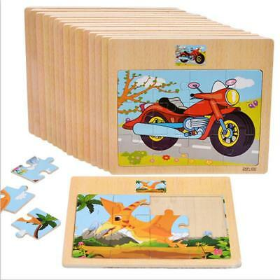 Wooden Animal Car Puzzle Jigsaw Early Learning Baby Kids Educational Toys LA