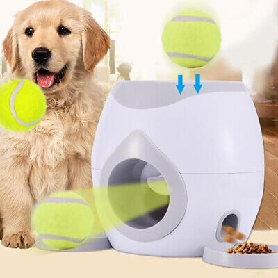 Automatic Interactive Ball Tennis Launcher Dog Pet Toys Training feeding Game