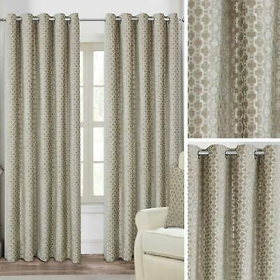 Beige Eyelet Curtains Velvet Trellis Ready Made Lined Ring Top Curtain Pairs