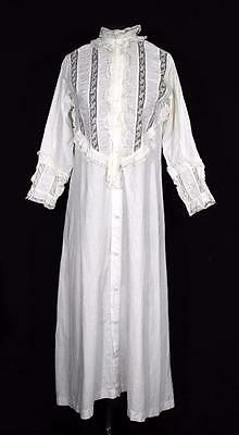 Very Rare Antique Edwardian Off White Cotton & Lace Night Gown Size Small