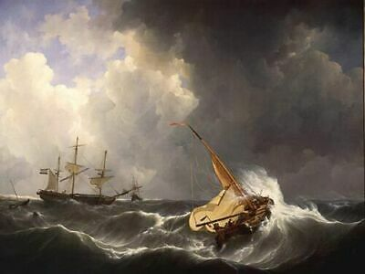 ZWPT1177 big sea wave sail boats handmade paint oil painting art on Canvas