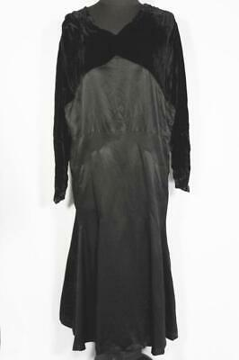 Rare French Antique Edwardian-1920'S Black Silk Satin & Velvet Dress Size 16-18