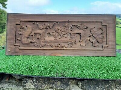 SUPERB 19thc CHINESE WOOD CARVED PANEL WITH BAT & A LION DOG IN RELIEF