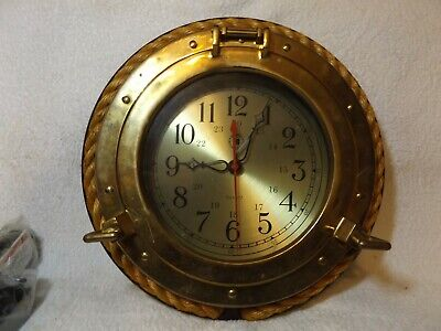 """Vintage Ships Clock Nautical Brass Rope Wooden 12"""" Tall Requires Battery"""