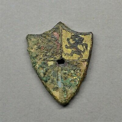 Rare Medieval Heraldic Enamelled Mount: Coat Of Arms. Circa 14Th Century.