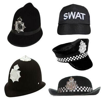 Police Hat Fancy Dress Checkered Costume Accessory Adults Kids Hen Night Cop Uk