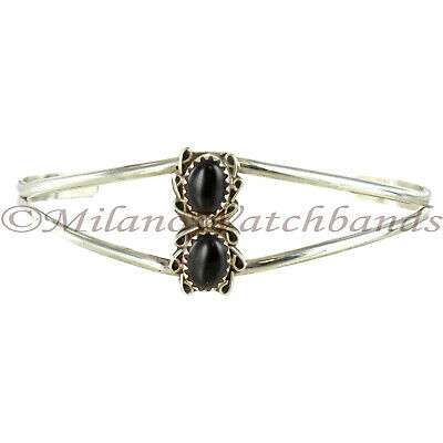 Womens Hand Made Beautiful Black Onyx Two Stone Sterling Silver Cuff Bracelet