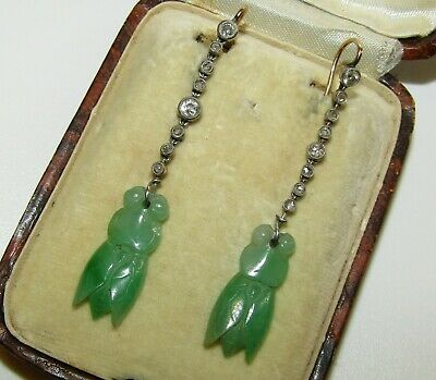 Rare, Antique Chinese 9 Ct Gold Cicada Earrings With Carved Jade & Sapphires