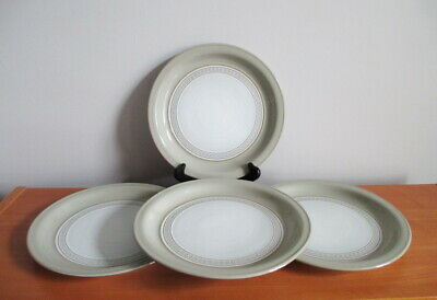 "Denby Alsace Set 4 Luncheon Plates 9"" Renaissance Collection Grey White England"
