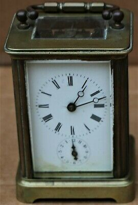 Old Heavy Quality Brass Carriage Clock With Alarm Function