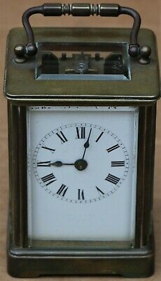 Old Heavy Quality Brass Carriage Clock With Bevel Edged Glass Panels
