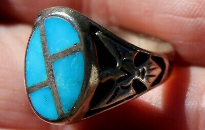 Old Navajo Sterling Silver & Turquoise Stone Inlay THUNDERBIRD Ring