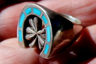 Old Zuni Sterling Silver & Turquoise Stone Inlay HORSESHOE & 4 LEAF CLOVER Ring