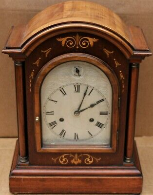 Beautiful Large Impressive Looking Hac Chiming Mantel Clock With Silvered Dial