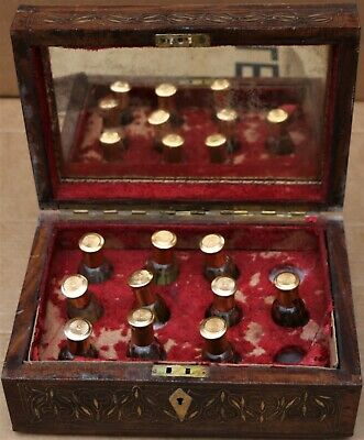 Unusual Brass Inlaid Wooden Box Fitted With Small Bottles