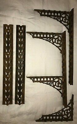 A.W. KOCH PEORIA ILL Antique 4 Shelf Brackets & 4 Supports Lg VINTAGE Cast Iron