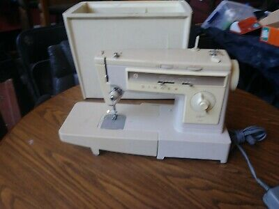 VINTAGE SINGER STYLIST 533 SEWING MACHINE WITH PEDAL, Case, & Extension