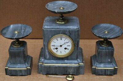 Stunning Looking Grey Marble Marti Clock Garniture Set With Gilt Decoration