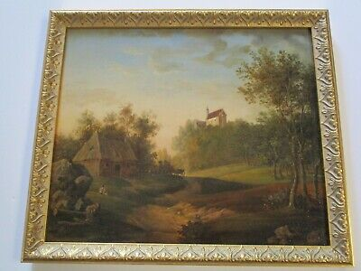 19Th Century Old Masterful Painting Sun Lit Farm Castle Wagon Trail Antique
