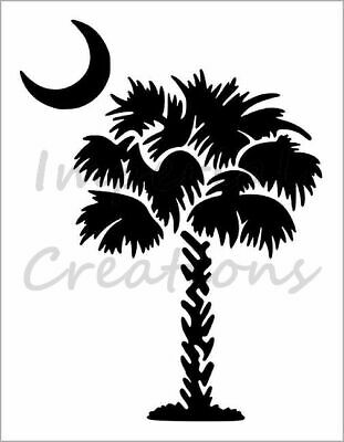 South Carolina Palmetto Moon Palm Tree Reusable Airbrush Stencil Pattern 11x8.5