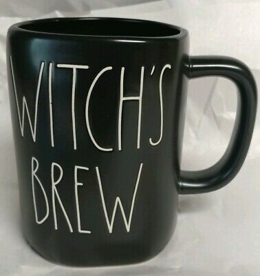 "New Rae Dunn Halloween L/L ""WITCH'S BREW"" All - Black Mug By Magenta VHTF Rare"