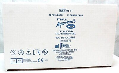 Parker Lab Aquasonic 100 01-01 Ultrasound Transmission Gel NEW 1 Box of 48 Packs