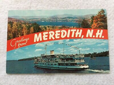 Greetings from Meredith, New Hampshire Vintage Postcard