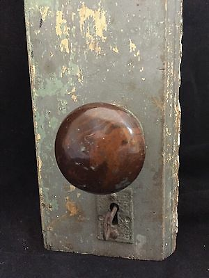Vintage Door Knob Set w/Lock set in Wood Door Piece! Escutcheons & Skeleton Key