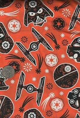 "42"" wide STAR WARS  Darth Vader Sugar skulls black on orange Halloween  fabric"