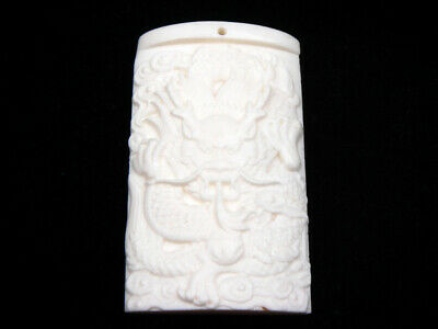 Highly Detailed Hand Carved Pendant Furious Curly Dragon #07301903