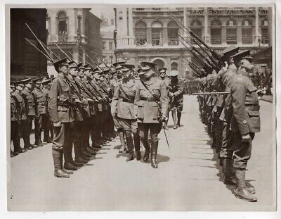 WWI Lord Mayor General Lloyd Inspect Guard of Honor Mansion House London Photo