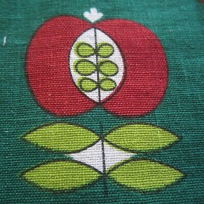 1960s Green Red Apple Vintage Cotton Sewing Fabric Scandi Style 79cm x 77cm
