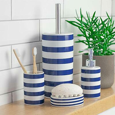 Harbour Housewares Blue and White Striped Ceramic Bathroom Toothbr Free Shipping