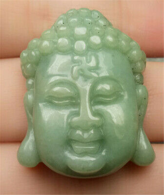 Certified Oily Green Natural A Jade Jadeite Carved Sakyamuni 释迦牟尼佛 Head Pendant