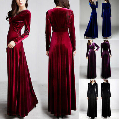 Women's Dress Ladies Maxi Dress Sexy Fashion Party Solid Gown Wedding Loose
